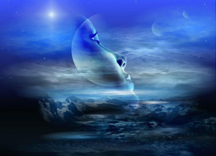 En el cielo esta la luna, la rodean muchas estrellas